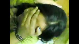 Indian green saree wife giving blowjob to his bf